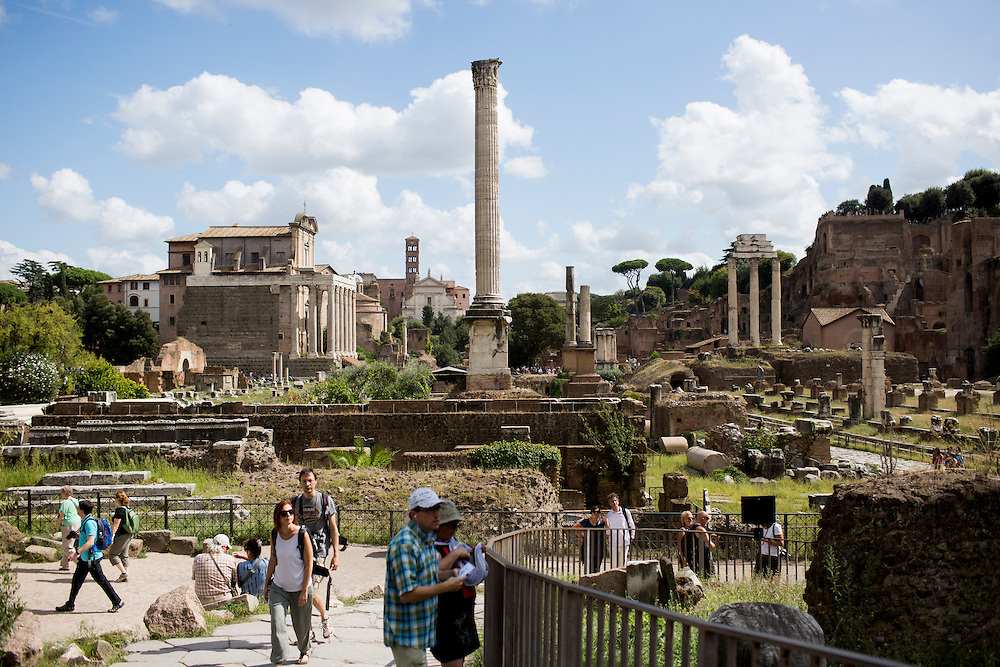 The Column of Phocas is seen in the Roman Forum on Wednesday, Sept. 23, 2015, in Rome, Italy. (Photo by James Brosher)