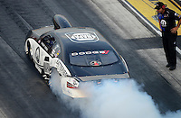 Jun. 29, 2012; Joliet, IL, USA: NHRA pro stock driver Vincent Nobile during qualifying for the Route 66 Nationals at Route 66 Raceway. Mandatory Credit: Mark J. Rebilas-