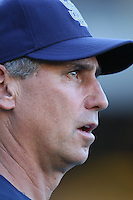 San Diego Padres Manager Bud Black during batting practice before a game against the Los Angeles Dodgers in a 2007 MLB season game at Dodger Stadium in Los Angeles, California. (Larry Goren/Four Seam Images)