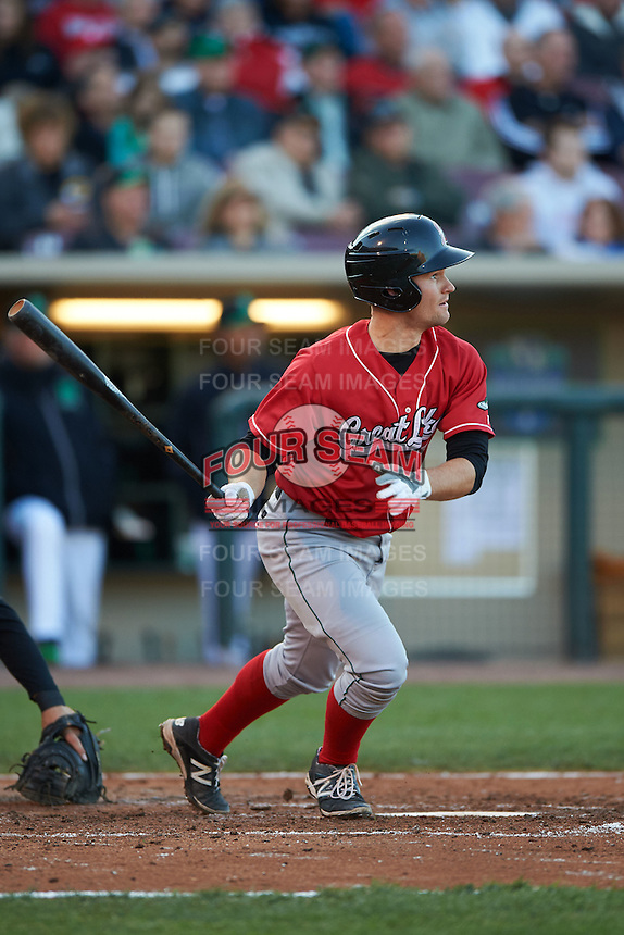 Great Lakes Loons catcher Brant Whiting (7) at bat during a game against the Dayton Dragons on May 21, 2015 at Fifth Third Field in Dayton, Ohio.  Great Lakes defeated Dayton 4-3.  (Mike Janes/Four Seam Images)