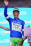 Enrico Barbin (ITA) Bardiani CSF retains the mountains Maglia Azzurra at the end of Stage 3 of the 101st edition of the Giro d'Italia 2018, running 229km flat stage from Be'er Sheva to Eilat is the last in Israel. 6th May 2018.<br /> Picture: LaPresse/Gian Mattia D'Alberto | Cyclefile<br /> <br /> <br /> All photos usage must carry mandatory copyright credit (&copy; Cyclefile | LaPresse/Gian Mattia D'Alberto)