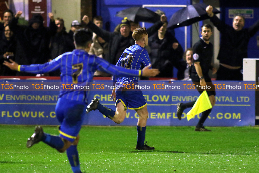 Alfie Egan celebrates scoring AFC Wimbledon's opening goal during AFC Wimbledon Youth vs Chelsea Youth, FA Youth Cup Football at the Cherry Red Records Stadium