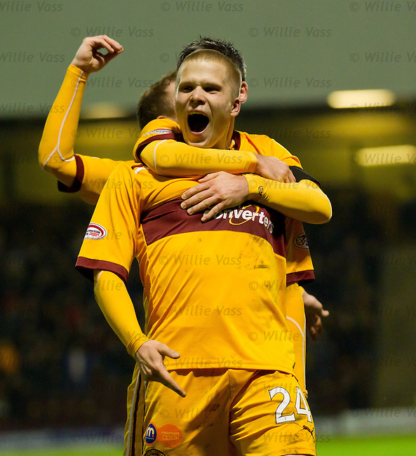 Henrik Ojamma celebrates his goal for Motherwell