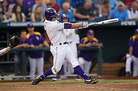 LSU Tiger first baseman Mason Katz (8) swings the bat during Game 4 of the 2013 Men's College World Series against the UCLA Bruins on June 16, 2013 at TD Ameritrade Park in Omaha, Nebraska. UCLA defeated LSU 2-1. (Andrew Woolley/Four Seam Images)