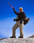 River guide Phil Boyer trekking on Glacier Viedma in the Parque Nacional los Glaciares, Argentina.