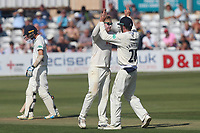 Simon Harmer of Essex celebrates taking the wicket of Dawid Malan during Essex CCC vs Middlesex CCC, Specsavers County Championship Division 1 Cricket at The Cloudfm County Ground on 26th June 2017