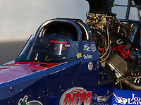 May 17, 2014; Commerce, GA, USA; NHRA top fuel dragster driver Ike Maier during qualifying for the Southern Nationals at Atlanta Dragway. Mandatory Credit: Mark J. Rebilas-USA TODAY Sports