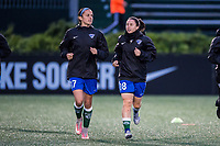 Boston, MA - Saturday September 30, 2017: Amanda Frisbie and Tiffany Weimer during a regular season National Women's Soccer League (NWSL) match between the Boston Breakers and Sky Blue FC at Jordan Field.