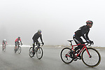 The breakaway group including Nicolas Rocke (IRL) BMC Racing Team during a wet miserable Stage 7 of the 2018 Paris-Nice running 175km from Nice to Valdeblore la Colmiane, France. 10th March 2018.<br /> Picture: ASO/Alex Broadway | Cyclefile<br /> <br /> <br /> All photos usage must carry mandatory copyright credit (&copy; Cyclefile | ASO/Alex Broadway)