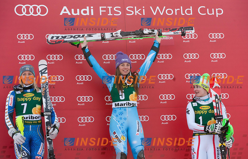 HANSDOTTER Frida (SWE), Winner MAZE Tina (SLO) and third placed ZETTEL Kathrin (AUT).27.01.2013, Pohorje, Maribor, .Sci Slalom Speciale Donne .Foto EXPA/ Sportida/ Vid Ponikvar/Insidefoto.ITALY ONLY