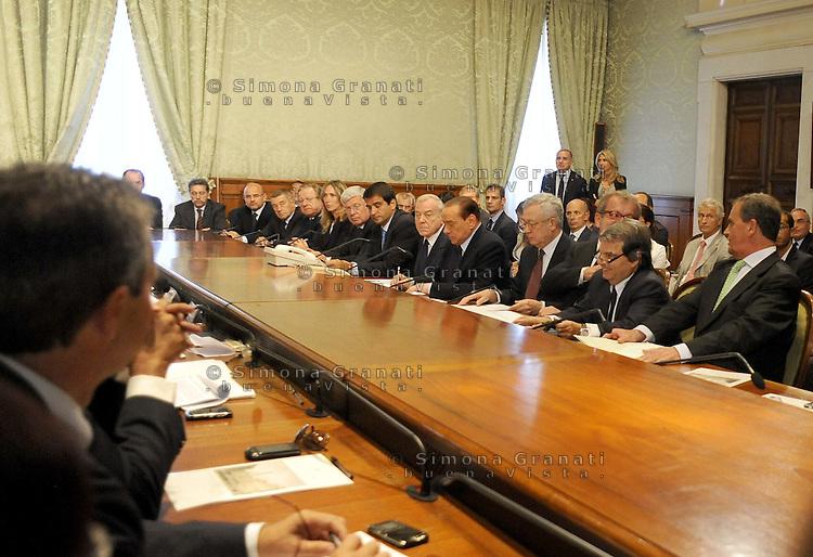 Roma, 12 Agosto 2011.Palazzo Chigi.Manovra economica, incontro tra governo e Enti locali, Comuni, Province e Regioni