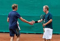 August 13, 2014, Netherlands, Raalte, TV Ramele, Tennis, National Championships, NRTK, Mens doubles: Mark Geurts/Erik Goris<br /> Photo: Tennisimages/Henk Koster