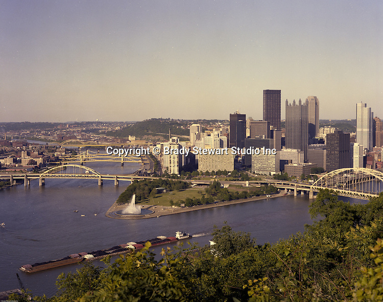Pittsburgh PA:  Color Photograph of the City of Pittsburgh - 1985.  New buildings added to the skyline; PPG Place, One Oxford Centre, One Mellon Bank Building