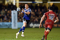 James Wilson of Bath Rugby receives the ball. Gallagher Premiership match, between Bath Rugby and Sale Sharks on December 2, 2018 at the Recreation Ground in Bath, England. Photo by: Patrick Khachfe / Onside Images