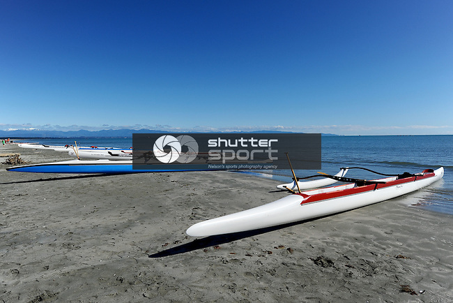 NELSON, NEW ZEALAND - SEPTEMBER 27: 2015 South Island Masters Games - Waka Ama at Tahunanui Beach on September 27, 2015 in Nelson, New Zealand. (Photo by: Chris Symes Shuttersport Limited)