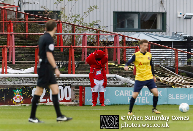 Wrexham 2 Ebbsfleet United 0, 18/11/2017. The Racecourse Ground, National League. The Wrexham mascot in front of the Kop end of the Racecourse Ground. Photo by Paul Thompson.