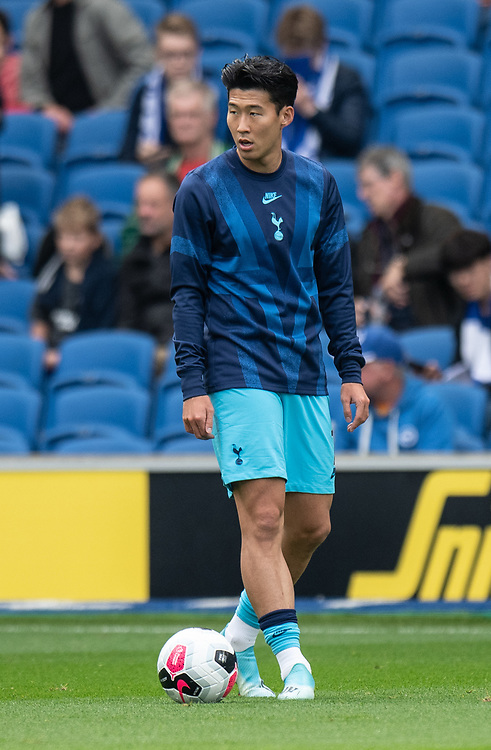 Tottenham Hotspur's Son Heung-Min during the pre-match warm-up <br /> <br /> Photographer David Horton/CameraSport<br /> <br /> The Premier League - Brighton and Hove Albion v Tottenham Hotspur - Saturday 5th October 2019 - The Amex Stadium - Brighton<br /> <br /> World Copyright © 2019 CameraSport. All rights reserved. 43 Linden Ave. Countesthorpe. Leicester. England. LE8 5PG - Tel: +44 (0) 116 277 4147 - admin@camerasport.com - www.camerasport.com