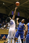 27 October 2013: Amber Henson (30) blocks a shot by Richa Jackson (15). The Duke University Blue Devils played their annual preseason Blue White women's college basketball game at Cameron Indoor Stadium in Durham, North Carolina.