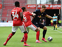 24th May 2020, Opel Arena, Mainz, Rhineland-Palatinate, Germany; Bundesliga football; Mainz 05 versus RB Leipzig;  Ridle Baku (FSV Mainz 05), Jean-Paul Boeatuis (FSV Mainz 05) and Marcel Halstenberg (RB Leipzig) compete along the wing
