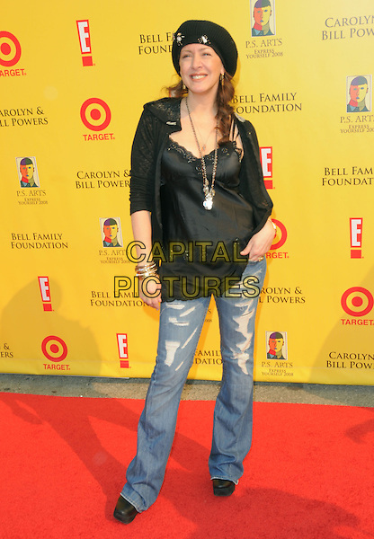 JOELY FISHER .at The 2008 P.S. Arts' Express Yourself sponsored by Target held at Barker Hangar in Santa Monica, California, USA,  November 16th 2008.                                                                     .full length jeans black top hat lace cami ripped.CAP/DVS.©Debbie VanStory/Capital Pictures