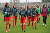 20191101 - Tubize: Belgian Enora Matte (4) with Rania Boutiebi (9)  Dounia F'Touh (8)   Alixe Bosteels (7) and Estee Cattoor (11)  pictured during the warming up of the international friendly match between Red Flames U16 (Belgium) and Norway U16 on 1 November 2019 at Belgian Football Centre, Tubize. PHOTO:  SPORTPIX.BE   SEVIL OKTEM
