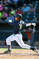 Left fielder Jay Jabs (7) of the Columbia Fireflies bats in a game against the Augusta GreenJackets on Sunday, July 30, 2017, at Spirit Communications Park in Columbia, South Carolina. Augusta won, 6-0. (Tom Priddy/Four Seam Images)