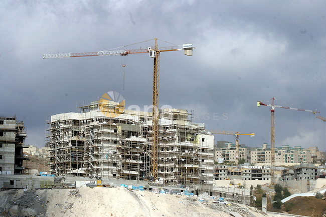 A construction site  in Hormone Hanatshv, a Jewish settlement that Israel erected on land it captured in the West Bank in a 1967 war and annexed unilaterally as part of its declared capital, Jerusalem on Nov. 03, 2011. Israeli Prime Minister Benjamin Netanyahu said that his government's decision to accelerate settlement building was a fundamental right, not punishment for the Palestinians joining UNESCO. Photo by Mahfouz Abu Turk