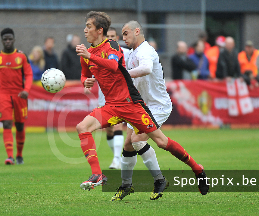 Georgia U19 - Belgium U19 : Julien De Sart (6) and Giorgi Pantsulaia (14)<br /> foto DAVID CATRY / Nikonpro.be