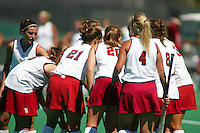 30 August 2005: Caroline Hussey, Tammy Shuer, Aska Sturdevan, Liz Robinson and the team during their 5-1 loss to Delaware at the Varsity Turf Field in Stanford, CA.