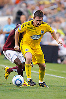21 AUGUST 2010:  Danny O'Rourke of the Columbus Crew (5) and Colorado Rapids forward Omar Cummings (14) during MLS soccer game between Colorado Rapids vs Columbus Crew at Crew Stadium in Columbus, Ohio on August 21, 2010.