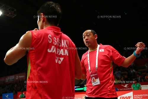 (L-R) Sho Sasaki, Keita Masuda (JPN), AUGUST 12, 2015 - Badminton : TOTAL BWF World Championships 2015 Men's Singles 2nd round match at Istora Senayan Arena, Jakarta, Indonesia. (Photo by Shingo Ito/AFLO SPORT)