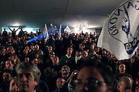 Varese: militanti della Lega Nord assistono all'incontro con Roberto Maroni e Umberto Bossi