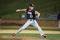 Davidson Wildcats relief pitcher Josh Hudson (33) in action against the Wake Forest Demon Deacons at David F. Couch Ballpark on February 28, 2017 in Winston-Salem, North Carolina.  The Demon Deacons defeated the Wildcats 13-5.  (Brian Westerholt/Four Seam Images)