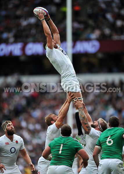 Tom Wood of England wins the ball at a lineout. QBE International match between England and Ireland on September 5, 2015 at Twickenham Stadium in London, England. Photo by: Patrick Khachfe / Onside Images