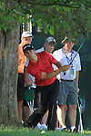 K Streelman playing out from under the trees on the 18th.on practice day of the USGA at Congressional, Bethesda, Washington, 15/6/11.Picture Fran Caffrey/www.golffile.ie