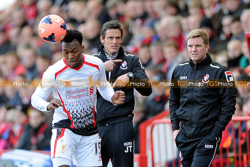Daniel Sturridge of Liverpool heads the ball as the AFC Bournemouth Management look for a substitution - AFC Bournemouth vs Liverpool - FA Cup 4th Round Football at the Goldsands Stadium, Bournemouth, Dorset - 25/01/14 - MANDATORY CREDIT: Denis Murphy/TGSPHOTO - Self billing applies where appropriate - 0845 094 6026 - contact@tgsphoto.co.uk - NO UNPAID USE