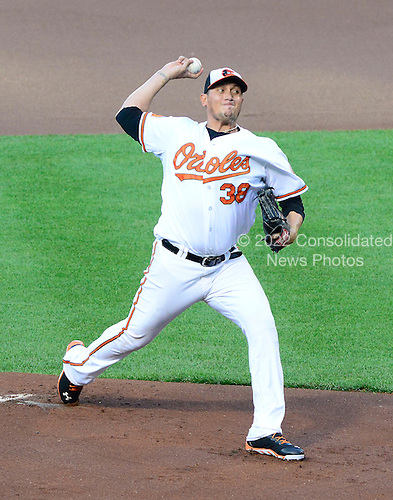 Baltimore Orioles pitcher Freddy Garcia (38) works in the first inning against the New York Yankees at Oriole Park at Camden Yards in Baltimore, Maryland on Monday, May 20, 2013..Credit: Ron Sachs / CNP.(RESTRICTION: NO New York or New Jersey Newspapers or newspapers within a 75 mile radius of New York City)