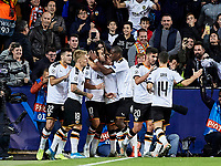 5th November 2019; Mestalla, Valencia, Spain; UEFA Champions League Football, Valencia versus Lille; Dani Parejo of Valencia CF celebrates with his team mates after scoring the equalizer goal (1-1) in minute 66' - Editorial Use