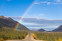 Rainbow over the Dalton highway, Arctic, Alaska.
