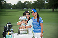 OLYMPIA FIELDS, IL - July 02: Danielle Kang of the United States and her mother, Grace Lee, gather for a photo with the trophy for the 2017 KPMG Women&rsquo;s PGA Championship held at Olympia Fields Country Club on July 02, 2017 in Olympia Fields, Illinois <br /> Photo by: Golffile | Montana Pritchard/PGA of America<br /> <br /> Images must display mandatory copyright credit - (Copyright: Montana Pritchard | PGA of America | Golffile)
