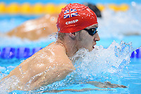 PICTURE BY ALEX BROADWAY /SWPIX.COM - 2012 London Paralympic Games - Day Three - Swimming - Aquatic Centre, Olympic Park, London, England - 01/09/12 - James Crisp of Great Britain competes in the Men's 100m Breaststroke SB8 Heats.