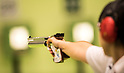 Akiko Sato (JPN),<br /> AUGUST 7, 2016 - Shooting :<br /> The detail shot of the pistol of Akiko Sato of Japan competing in the Women's 10m Air Pistol Qualification at Olympic Shooting Centre during the Rio 2016 Olympic Games in Rio de Janeiro, Brazil. (Photo by Enrico Calderoni/AFLO SPORT)