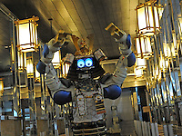 Samurai robot waiter serves food in the Hajime Restaurant, out-skirts of Bangkok, Thailand. Hajime is a Japanese restaurant in Thailand, has samurai style robot serving food to the diners and even do a dance session to entertain guests. This robot are made in Japan and costed about 86,600,000 yen (1,063,717USD). Customers order food from touch panel and Samurai robot will bring ordered food to their table.<br />