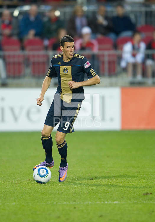 15 April 2010: Philadelphia Union forward Sebastien Le Toux #9 in action during a game between the Philadelphia Union and Toronto FC at BMO Field in Toronto..Toronto FC won 2-1..Photo by Nick Turchiaro/isiphotos.com.