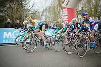 Elite women's start with Ellen Van Loy (BEL/Telenet-Fidea) outsprinting the competition<br /> <br /> Druivencross Overijse 2014