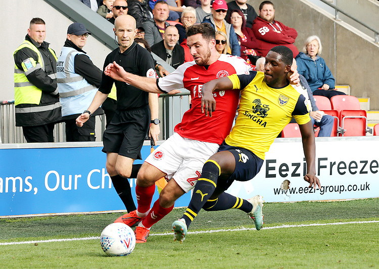 Fleetwood Town's Lewis Coyle vies for possession with Oxford United's Shandon Baptiste<br /> <br /> Photographer Rich Linley/CameraSport<br /> <br /> The EFL Sky Bet League One - Fleetwood Town v Oxford United - Saturday 7th September 2019 - Highbury Stadium - Fleetwood<br /> <br /> World Copyright © 2019 CameraSport. All rights reserved. 43 Linden Ave. Countesthorpe. Leicester. England. LE8 5PG - Tel: +44 (0) 116 277 4147 - admin@camerasport.com - www.camerasport.com