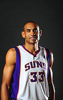 Dec. 16, 2011; Phoenix, AZ, USA; Phoenix Suns forward Grant Hill poses for a portrait during media day at the US Airways Center. Mandatory Credit: Mark J. Rebilas-