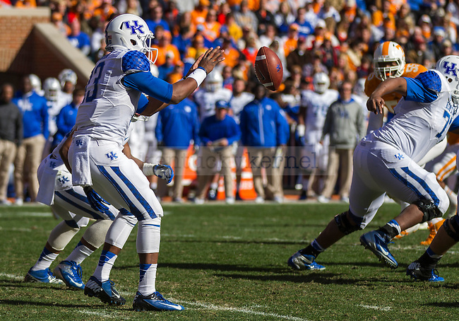 Kentucky freshman quarterback Jalen Whitlow receives a shotgun snap during Saturday's game against the Tennessee Volunteers in Knoxville, Tn., on Saturday, November, 24, 2012. Photo by James Holt | Staff
