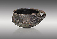 Neolithic Cretian clay single handled cup open kiln fired at Knossos,  4500-3000 BC, Heraklion Archaeological  Museum, grey background.