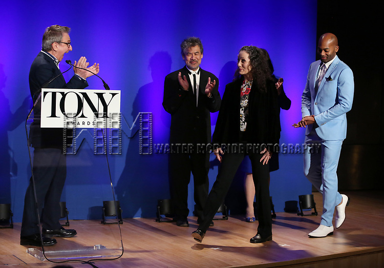 Thomas Schumacher, David Henry Hwang, Bebe Neuwirth and Brandon Victor Dixon during The 73rd Annual Tony Awards Nominations Announcement on April 30, 2019 in New York City.